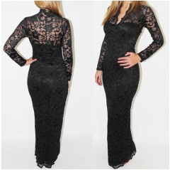 V-neck long sleeves bodycon Lace Women Maxi Dress black s