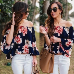 2016 Sexy Women Off Shoulder 3/4 Sleeve Floral Ruffles Blouse Tops blue textile printin s