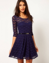 Women Round Neck Elegant Sexy O Neck 3/4 Sleeve Lace Dress blue s