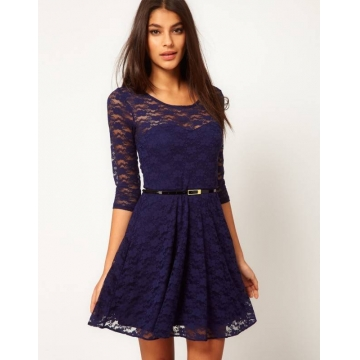 Women Round Neck Elegant Sexy O Neck 3/4 Sleeve Lace Dress blue m