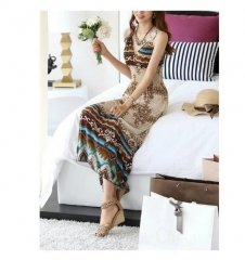 Boho Print V Neck Long Beach Dress Multicolor khaki one size