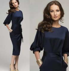 New Women Summer Casual Office Lady Formal Party Evening Cocktail Midi Dress navy blue s