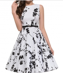 1950's Floral Party Cocktail Dress White m