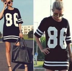 Fashion 86 Letter Print Baseball Long Tee Mini Dress black s