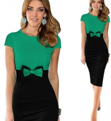 Elegant Bowknot Colorblock Pencil Dress green xl