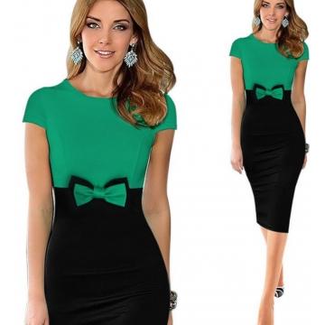 Elegant Bowknot Colorblock Pencil Dress green xl