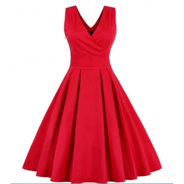 Vintage 1950's Sleeveless Sexy V-neck Party Cocktail Dress red xl
