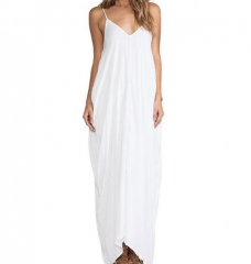 Sexy V-neck Dress Long Dress Maxi Dress with Pocket white m