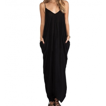 Sexy V-neck Dress Long Dress Maxi Dress with Pocket black m