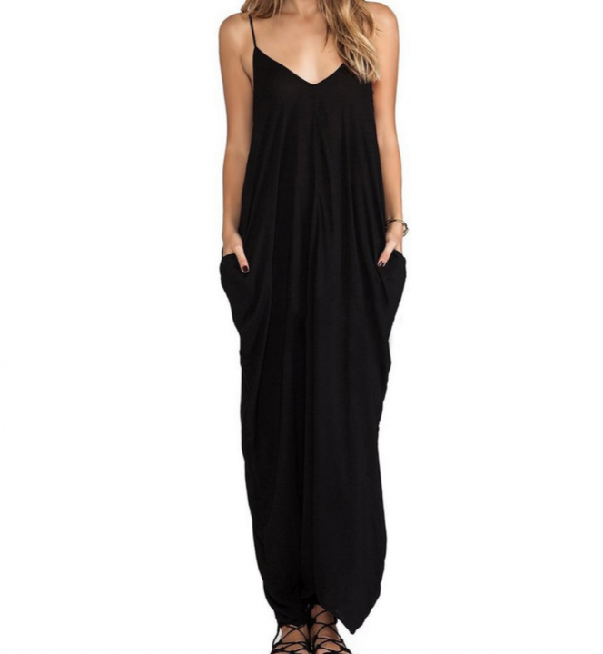 Sexy V-neck Dress Long Dress Maxi Dress with Pocket black m