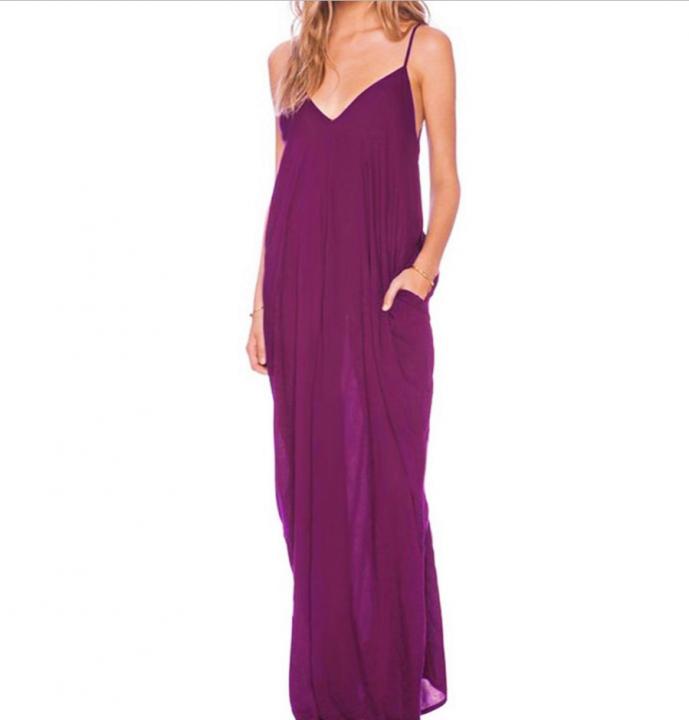 Sexy V-neck Dress Long Dress Maxi Dress with Pocket Purple m