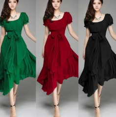Vintage Style Long Ball Party Irregular Evening Dress red l