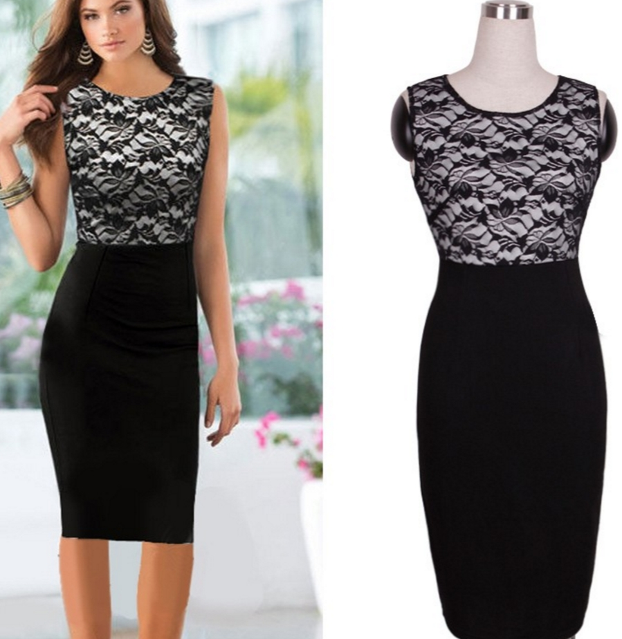 c34beb675c New Contrast Style Black Pencil Evening Slimming Dress black s ...