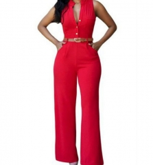 Sexy Sleeveless Button Loose Long Jumpsuit Romper red m