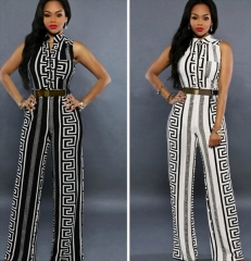 Women Jumpsuit Print Wide Leg Playsuit white m