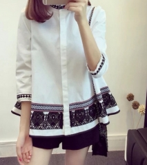 women 's national wind jacket Floral doll collar shirt white s