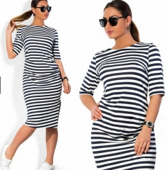 summer dress Summer Casual Dress Loose Plus Stripes Women black xxxl