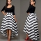 Women Long Striped Evening Formal Party Cocktail Dress l