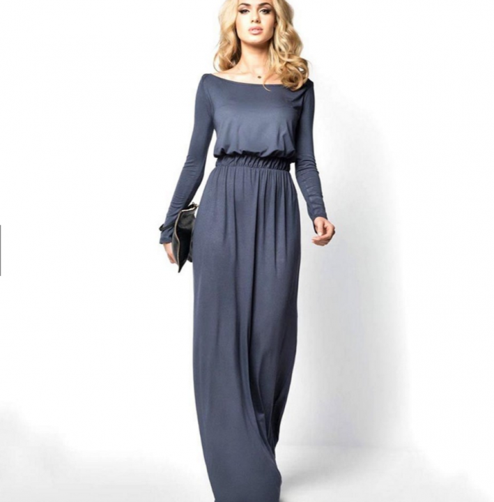 2be117fe64 Women Ladies Sexy Long Sleeve Cocktail Maxi Long Dress grey l ...
