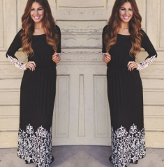 Women Lace Long Sleeve Party Cocktail Maxi Long Dress black s