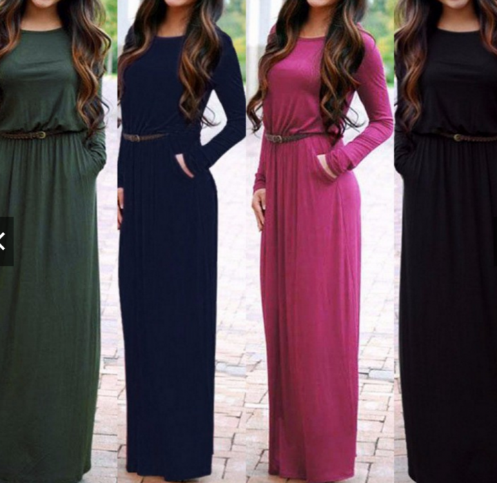 Women autumn XL Plus size Long Dresses Casual Maxi dress blue xl