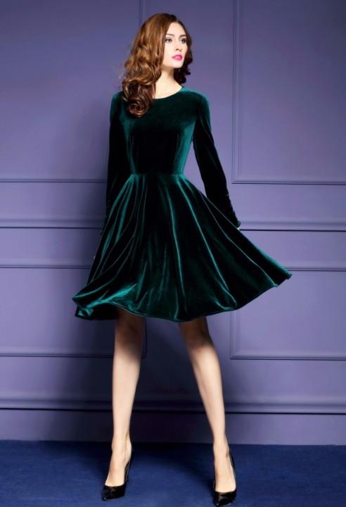 c335199e76e48 Dresses Womens Velvet Dresses Winter Dark Green Women Evening Party Dress  Elegant A-Line Robe