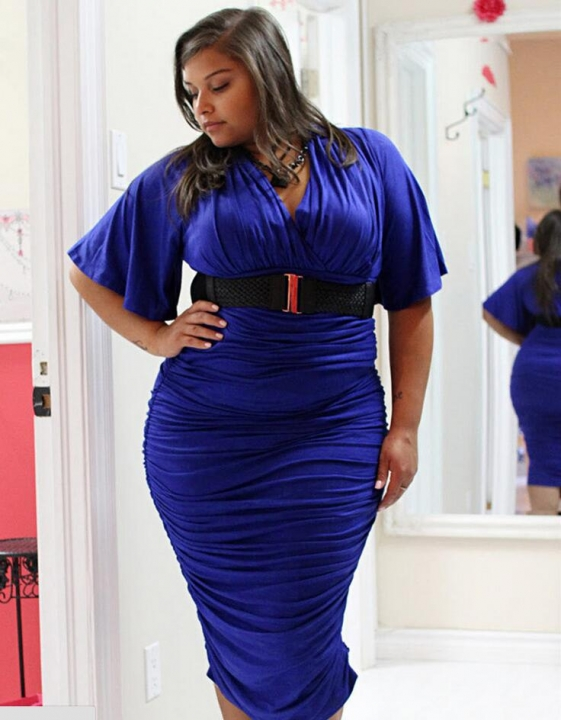 Women's Short Sleeved Dress Perspective Evening Bodycon V-neck A Line Shape Dress Large Size -green purple xxxl