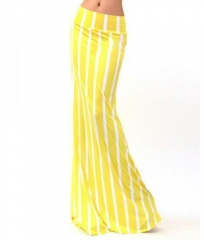 New 2016 Autumn fashion Europe and America Nightclub skirts Sexy Striped Maxi slim long skirts yellow s