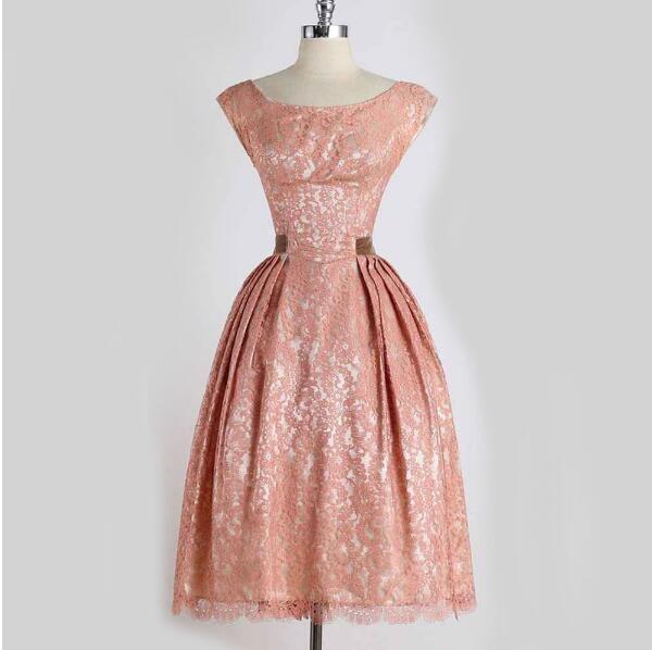 Bundle Waist Party A-line Dress Vintage O-neck Sleeveless Dress Lace Vintage Dress Girl Dress pink xl