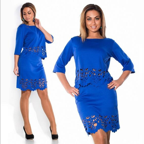 TheWomen A Line Dress A One-step Skirt And Two Pieces Outfit For Ladies Of 5 Colors blue 4xl