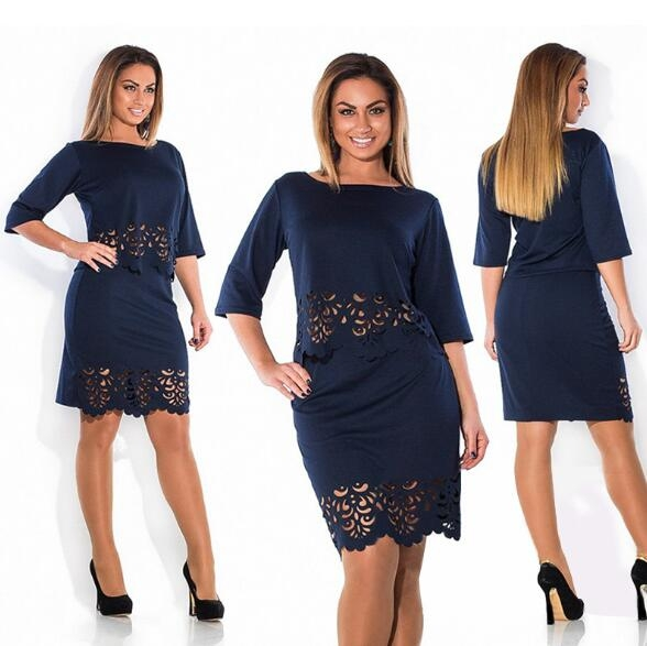 TheWomen A Line Dress A One-step Skirt And Two Pieces Outfit For Ladies Of 5 Colors darkblue xl