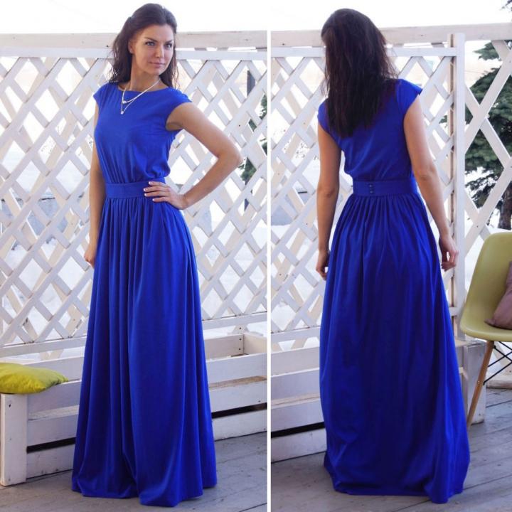 ummer Elegant Beach Dress with Sashes Pleated Robe Empire Blue Long Maxi Dresses Belt Women Clothing blue xxl