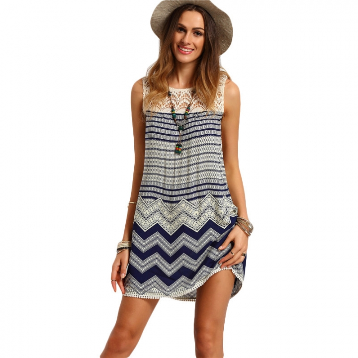 Boho Dresses Beach Women Striped Multicolor Sleeveless Print Lace Yoke Shift Loose Sexy Rayon Dress picture color m