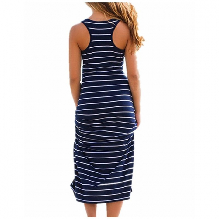 Women Striped Dresses Boho Long Dress Sleeveless Beach Vest Sexy long Sundress Vestido Plus Size blue l