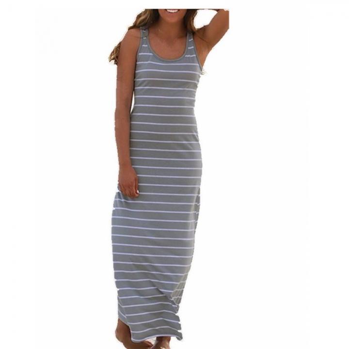 b16167f45c4 Women Striped Dresses Boho Long Dress Sleeveless Beach Vest Sexy long  Sundress Vestido Plus Size grey