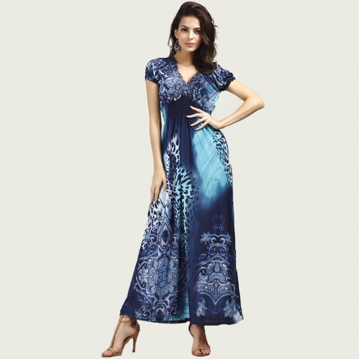 Women Dress Elegant Maxi Vintage Fashion Beach Robe Bohemian Vestidos Casual Clothes Long Dress blue xl