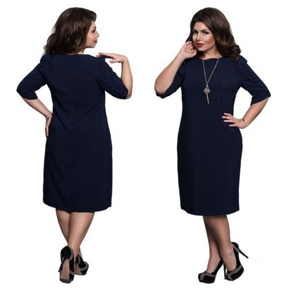 Omen's Short Sleeved Dress Perspective Evening Bodycon O-neck A Line Shape Dress Large Size dark blue 4xl