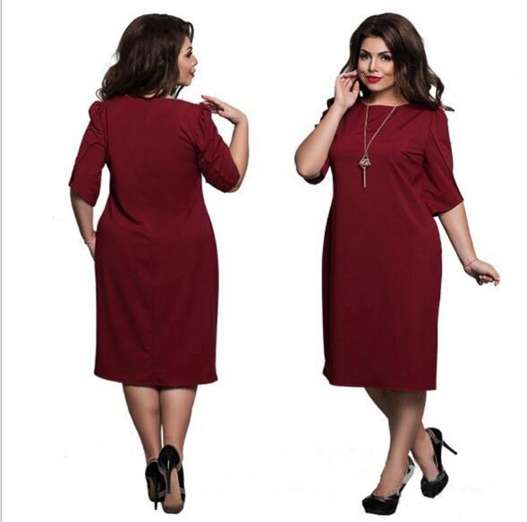 Omen's Short Sleeved Dress Perspective Evening Bodycon O-neck A Line Shape Dress Large Size wine red xxxl