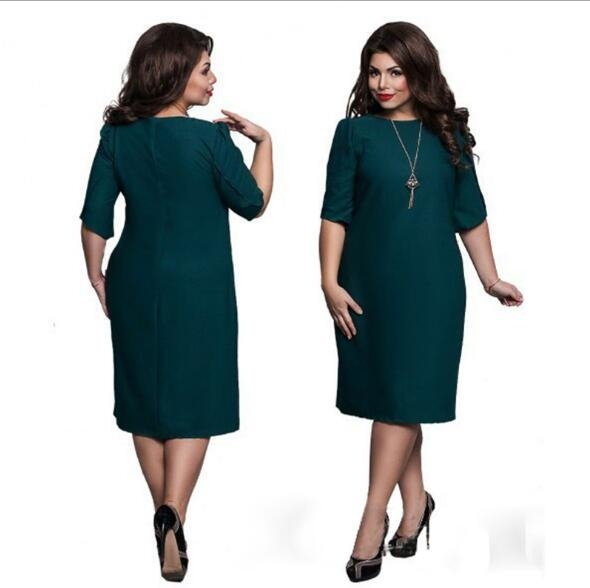 Omen's Short Sleeved Dress Perspective Evening Bodycon O-neck A Line Shape Dress Large Size green xxl