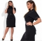 Summer New Middle Age Dress O-neck A Line Shape Dress Large Size black 4xl