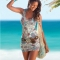 Women Fashion Women Print Beach Sleeveless Off Shoulder Sheath Slim Mini Party Casual Dress picture color m