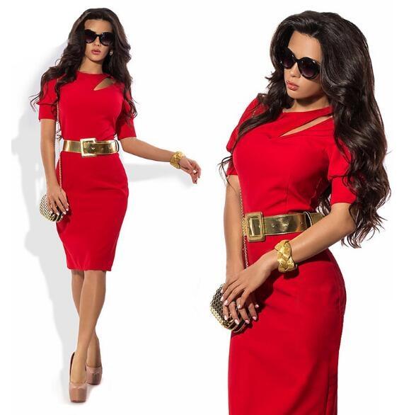 Nemidor Summer Women Patchwork Office Half Sleeve Bodycon Dress red l