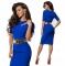 Nemidor Summer Women Patchwork Office Half Sleeve Bodycon Dress blue s