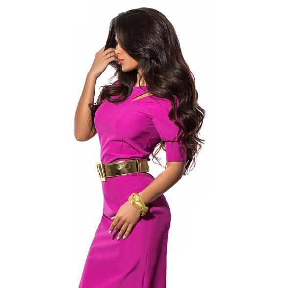 Nemidor Summer Women Patchwork Office Half Sleeve Bodycon Dress rose red l