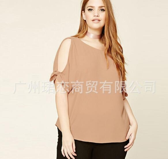 Summer Women Chiffon Blouses Shirts Loose Casual Blouse Female O-neck Short Sleeve khaki xl