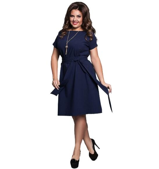 Women Casual O-neck Solid A-line Slim Short Sleeve Vintage Belted Knee Length Summer Dress dark blue xl