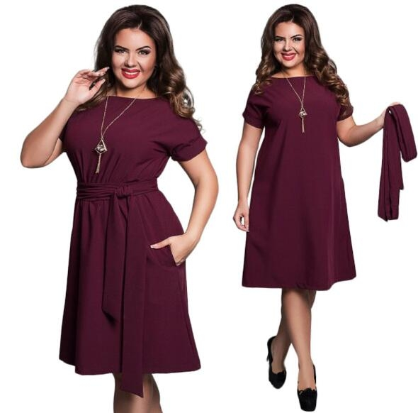Women Casual O-neck Solid A-line Slim Short Sleeve Vintage Belted Knee Length Summer Dress wine red l