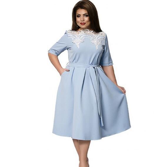 Women Vintage Half Sleeve Print Plus Size A-line Dress Sexy Lace Dress blue xxl