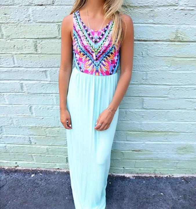 Women Fashion Summer Long Solid Bohemia Dresses Elegant Casual Sweet Wedding Party Dresses light blue s