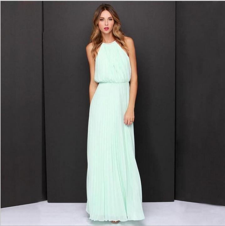 Fashion Style Chiffon Lanon Polyester Halter Dress Cute Sexy Maxi Solid Sleeveless Pleated Dress blue l